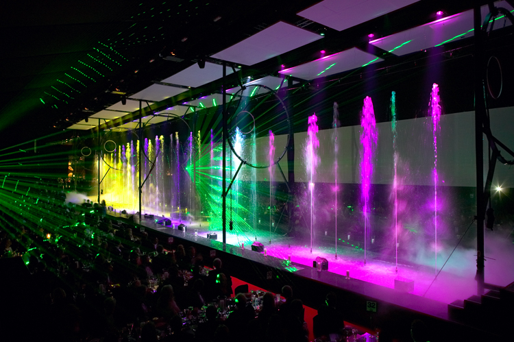 Interior of Peppers Marquee with Laser and water show by Starlight Design