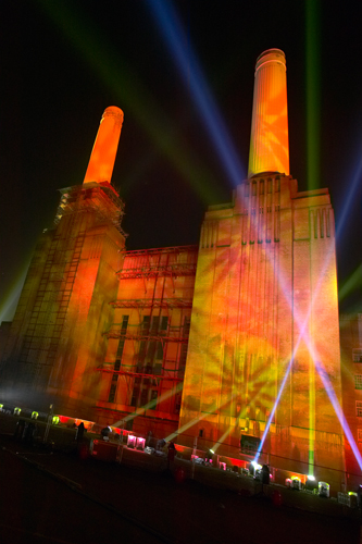 Battersea power station event illuminated by Starlight Design