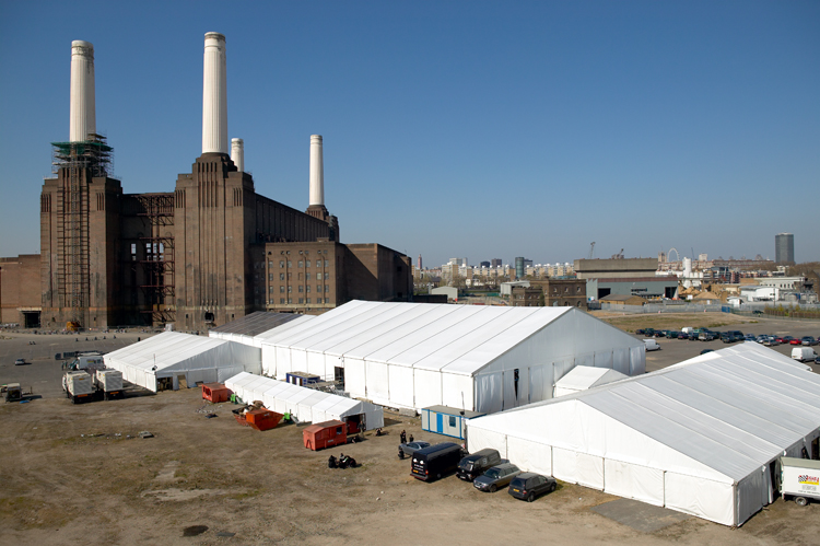 Exterior of Peppers Marquee at Battersea Power Station London